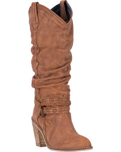 Dingo Tan Morgan Slouch Cowgirl Boots - Round Toe, Tan, hi-res