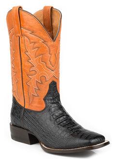 Roper Faux Caiman Belly Cowboy Boots - Square Toe, , hi-res