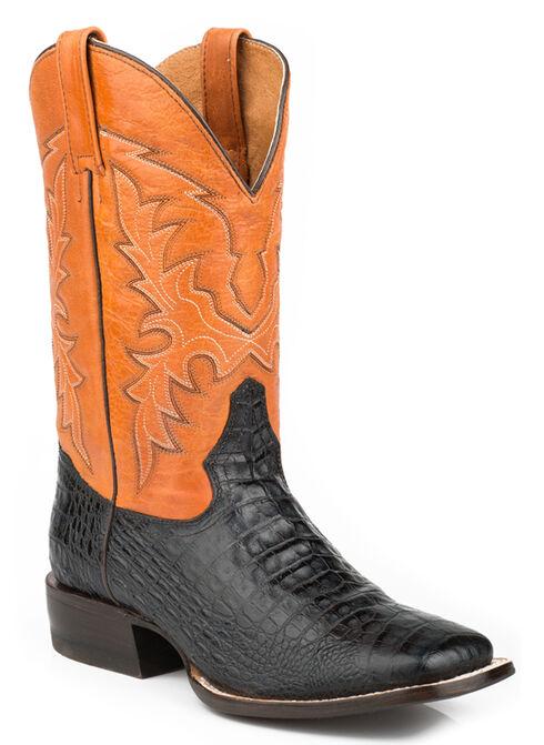 Roper Faux Caiman Belly Cowboy Boots - Square Toe, Black, hi-res