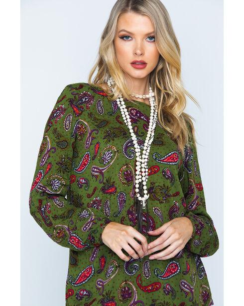 Wrangler Women's Lace-Up Back Paisley Tunic , Green, hi-res