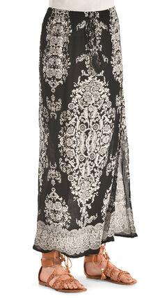 Bila Women's Printed Long Skirt , Black, hi-res