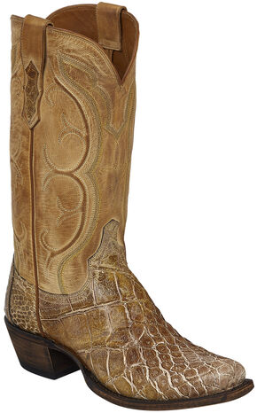 Lucchese Tan Van Giant Gator Cowboy Boots - Square Toe  , Tan, hi-res