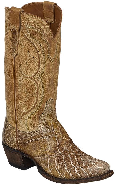 Lucchese Tan Van Giant Gator Cowboy Boots - Square Toe  , Tan, hi-res