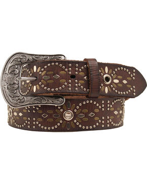 Ariat Studded Eyelet Belt, Brown, hi-res