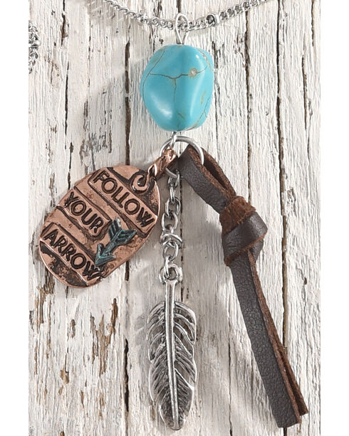 Shyanne Women's Follow Your Arrow Charm Necklace, Silver, hi-res