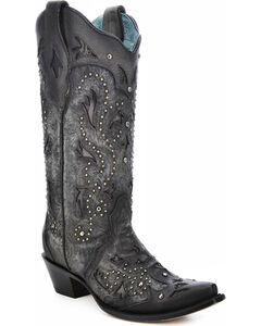Corral Women's Studded Embossed Cowgirl Boots - Snip Toe, Black, hi-res