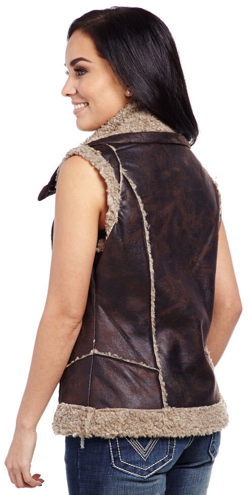 Cripple Creek Women's Faux Leather Fur Trim Vest , Chocolate, hi-res
