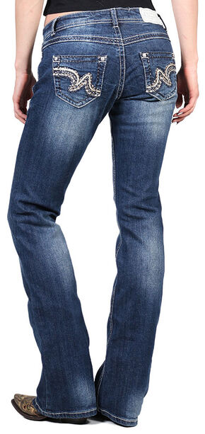 Shyanne Women's Faux Leather Embellished Boot Cut Jeans, Blue, hi-res