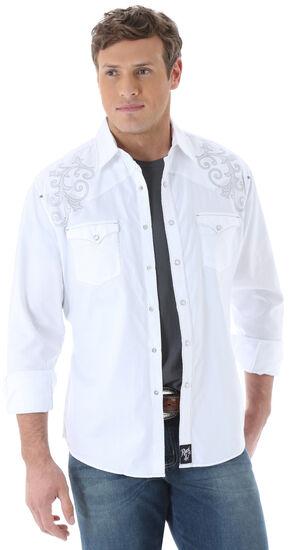 Wrangler Rock 47 Men's White Tonal Dobby Western Shirt, White, hi-res