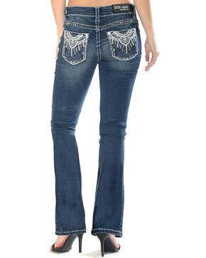 Grace in LA Women's Medallion Pocket Boot Cut Jeans - Plus Size, Indigo, hi-res
