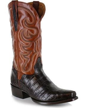 El Dorado Men's Alligator Belly Exotic Boots - Narrow Square Toe, Chocolate, hi-res