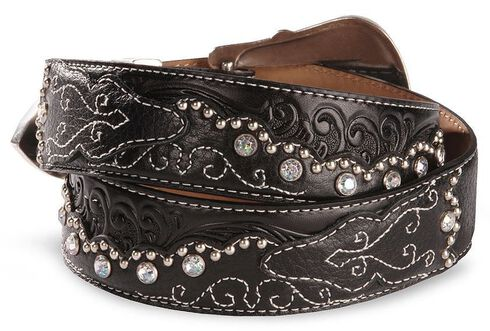 Tony Lama Kaitlyn Crystal Scalloped Leather Western Belt, Black, hi-res