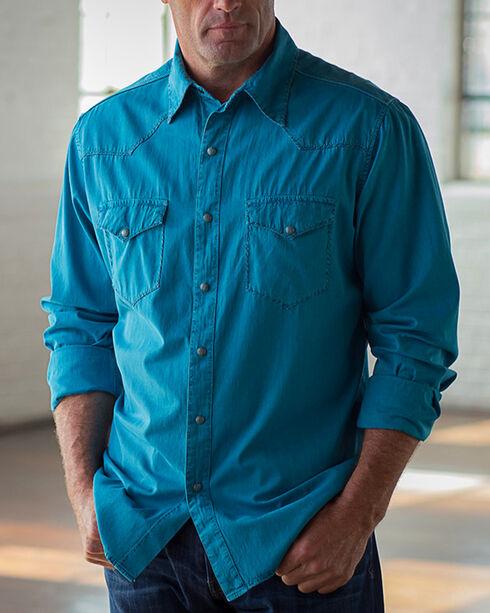 Ryan Michael Men's Whip Stitch Gabardine Shirt , Teal, hi-res