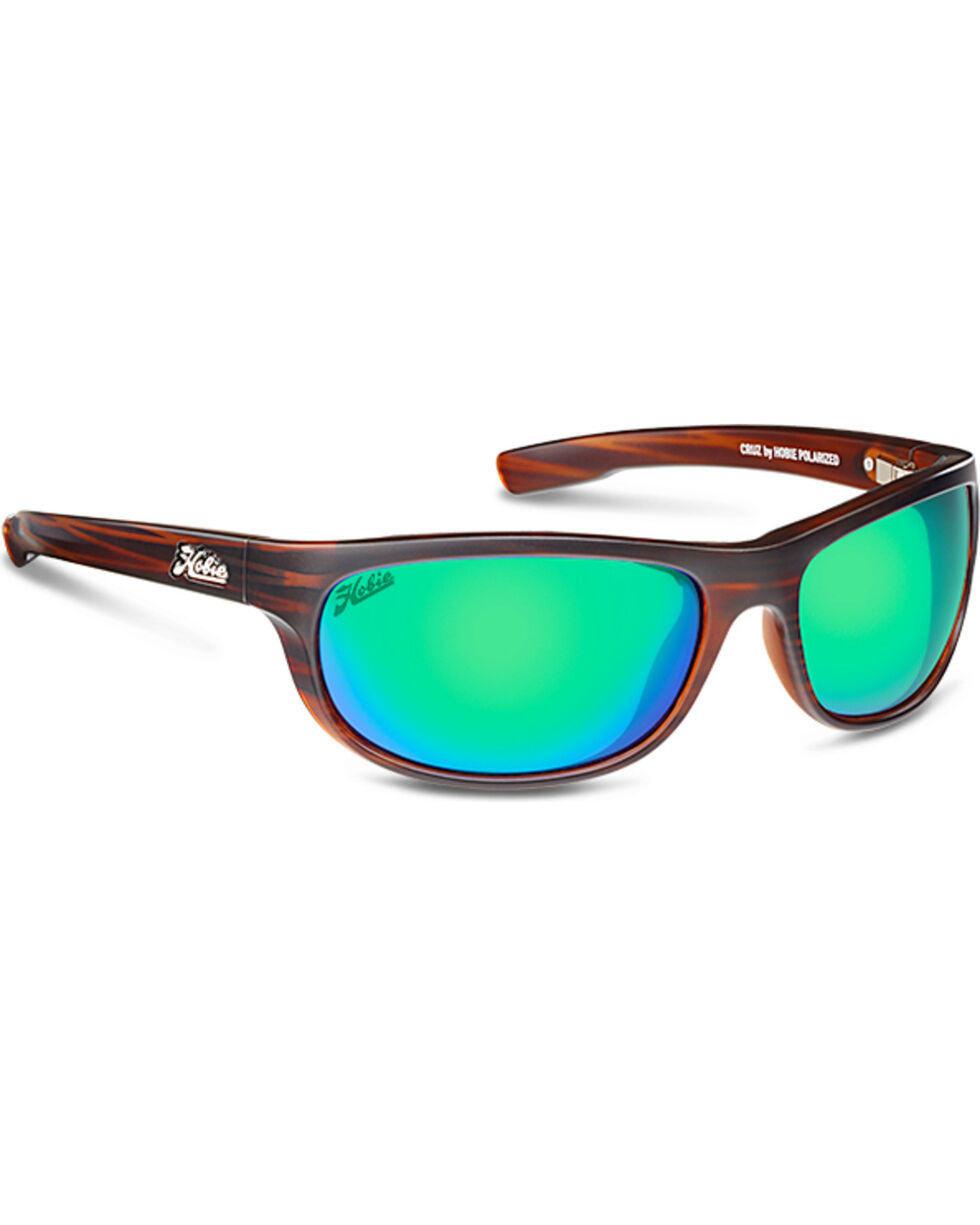 Hobie Men's Sea Green and Satin Brown Wood Grain Cruz Polarized Sunglasses  , Brown, hi-res