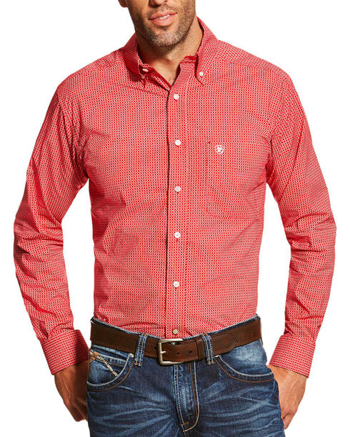 Ariat Men's Red Stoney Printed Long Sleeve Shirt , Red, hi-res
