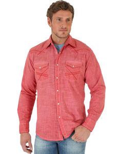 Wrangler Men's Coral 20X Long Sleeve Slub Shirt - Tall , Coral, hi-res