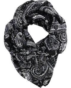 M&F Women's Silk Paisley Wild Rag, Black, hi-res