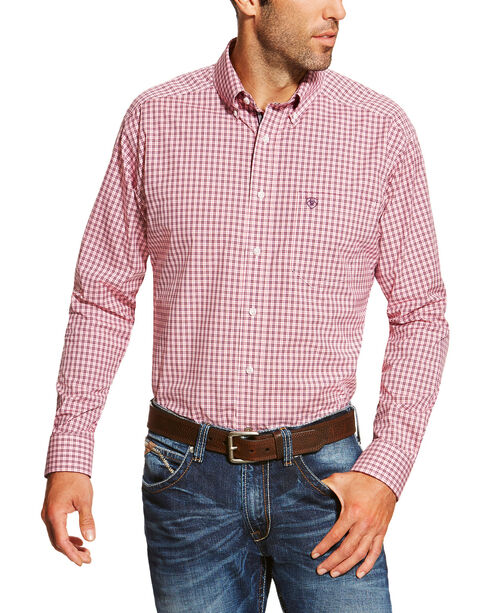 Ariat Men's Dark Pink Felton Plaid Print Long Sleeve Shirt , Dark Pink, hi-res