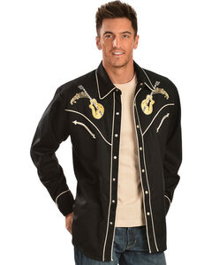 Scully Rock 'N Roll Embroidered Retro Western Shirt, , hi-res