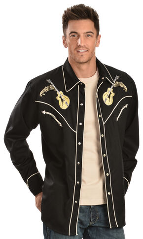 Scully Rock N Roll Guitar Embroidered Retro Western Shirt - Big, Black, hi-res