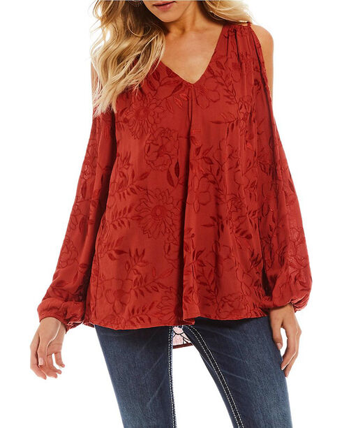 Miss Me Women's Shiny Embroidered Cold Shoulder Top, Rust Copper, hi-res