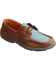 Twisted X Women's Blue Fish Scale Driving Mocs - Moc Toe, Multi, hi-res