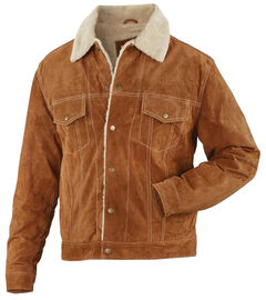 Vintage Leather Brown Suede Sherpa-Lined Jacket , Brown, hi-res