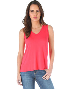 Wrangler Women's Coral Open Back Tank Top , Coral, hi-res