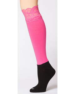 Darby's Lacie Lace Knee-High Boot Socks, Pink, hi-res