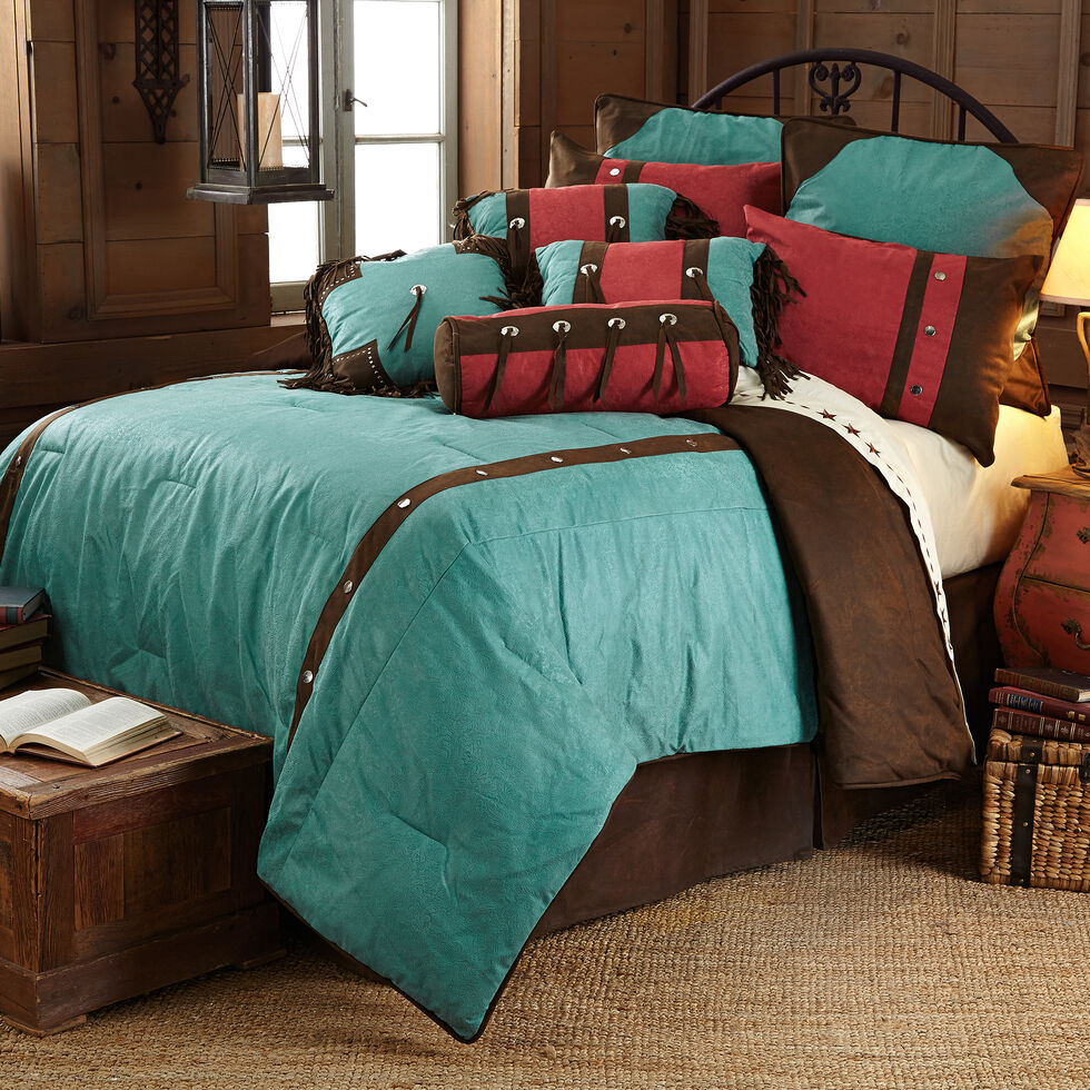 HiEnd Accents Cheyenne Floral Western Bed In A Bag Set - Twin Size, Turquoise, hi-res