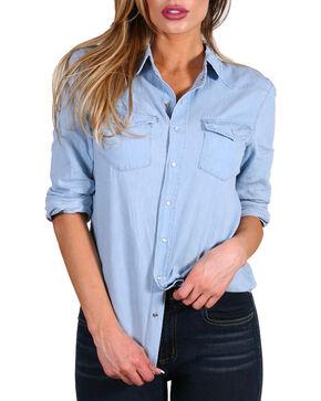 Petrol Women's Denim Basic Long Sleeve Shirt, , hi-res