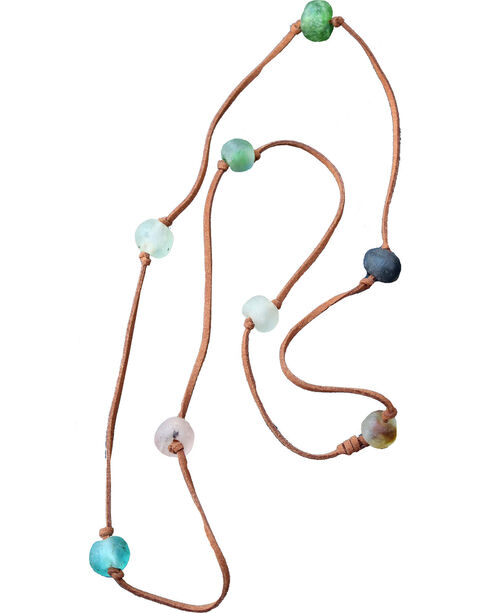 "2 Queen B's Women's Fearless Woman 36"" Knotted Camel Suede Ghana Bead Necklace, Multi, hi-res"