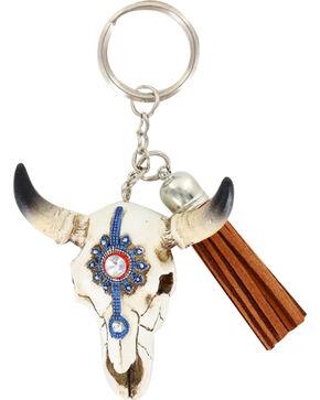 Shyanne® Steer Skull Keychain, Cream, hi-res