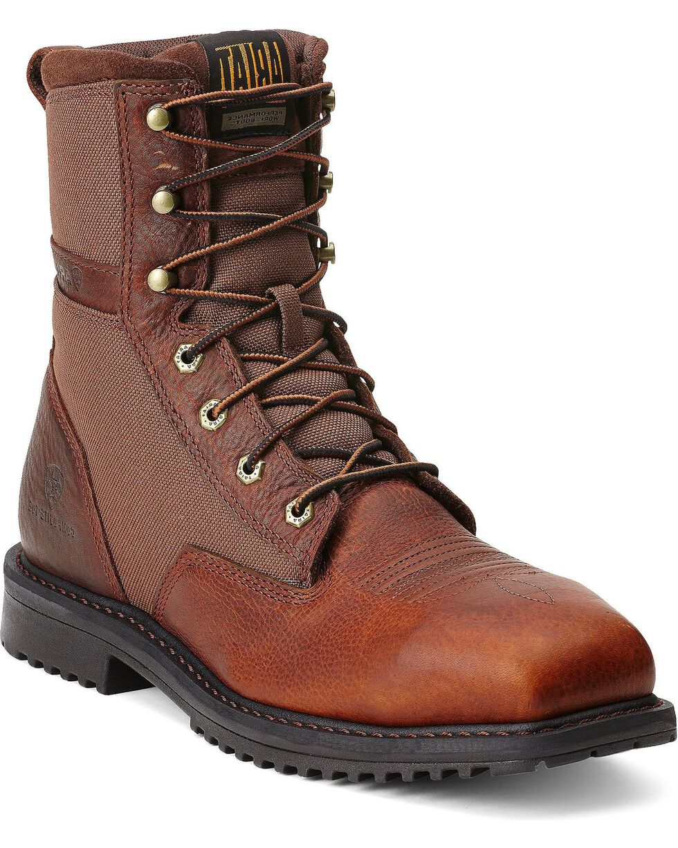 "Ariat RigTek 8"" Lace-Up Work Boots - Safety Toe, Brown, hi-res"