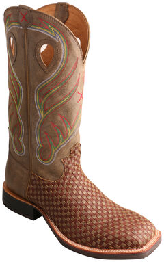 Twisted X Brown Basketweave Ruff Stock Cowboy Boots - Square Toe  , , hi-res