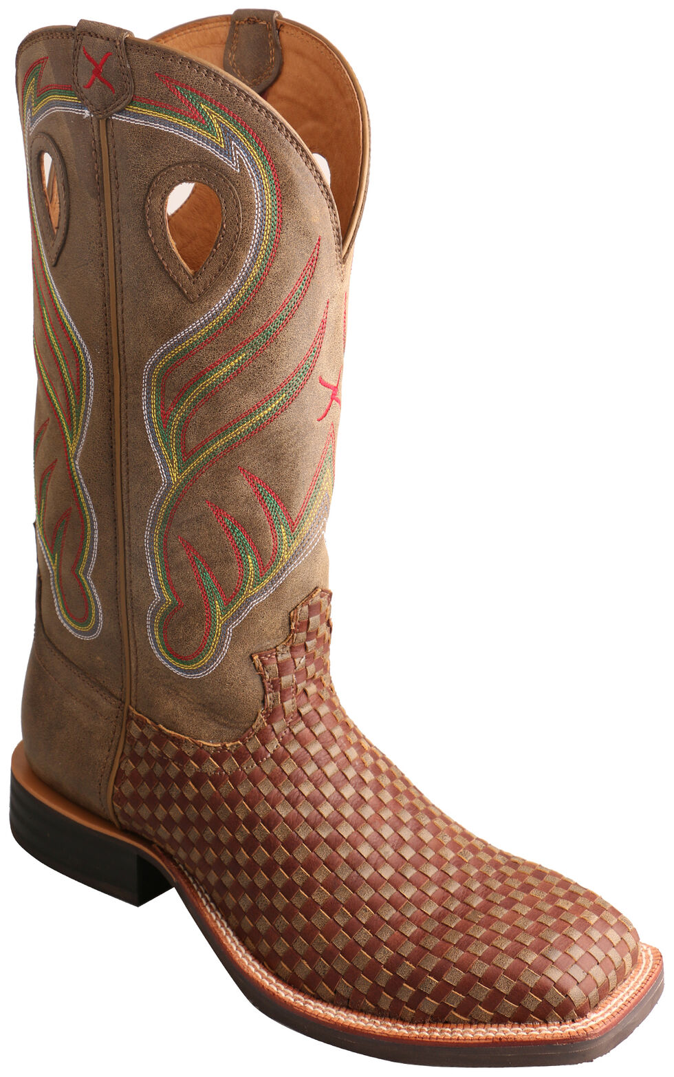 Twisted X Brown Basketweave Ruff Stock Cowboy Boots - Square Toe  , Brown, hi-res