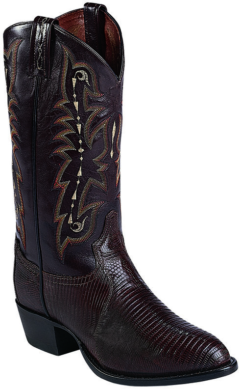 Tony Lama Chocolate Lizard Exotics Cowboy Boots - Round Toe , Chocolate, hi-res
