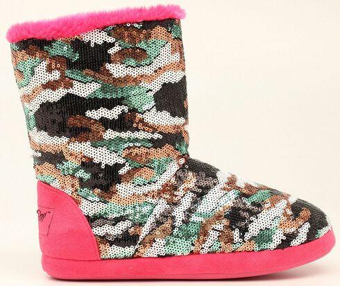 Blazin Roxx Camo Sequin Slipper Booties, Hot Pink, hi-res