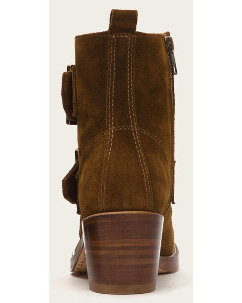 Frye Women's Sabrina Double Buckle Light Brown Suede Boots , Lt Brown, hi-res