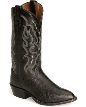 Tony Lama smooth ostrich cowboy boots, Black, hi-res