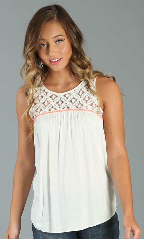 Wrangler Women's Sleeveless Top with Crochet Piecing, Ivory, hi-res