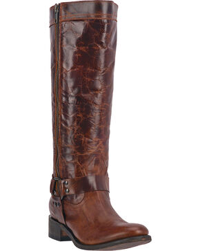 Dan Post Hot Ticket Women's Harness Tall Boots - Round Toe, Rust, hi-res