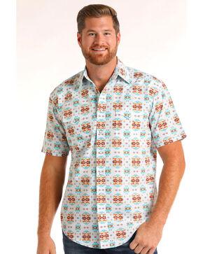 Rough Stock by Panhandle Men's Aztec Print Short Sleeve Shirt, White, hi-res