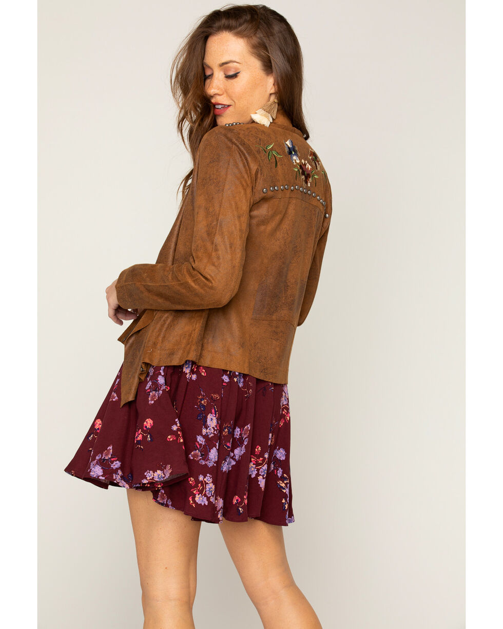 Shyanne Women's Embroidered Jacket, Taupe, hi-res
