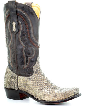 Corral Men's Natural Rattlesnake Skin Boots - Square Toe , Natural, hi-res