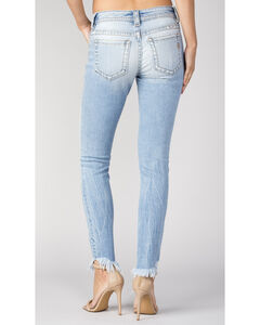 Miss Me Women's Frayed-Hem Exposed Button Jeans - Skinny , Indigo, hi-res