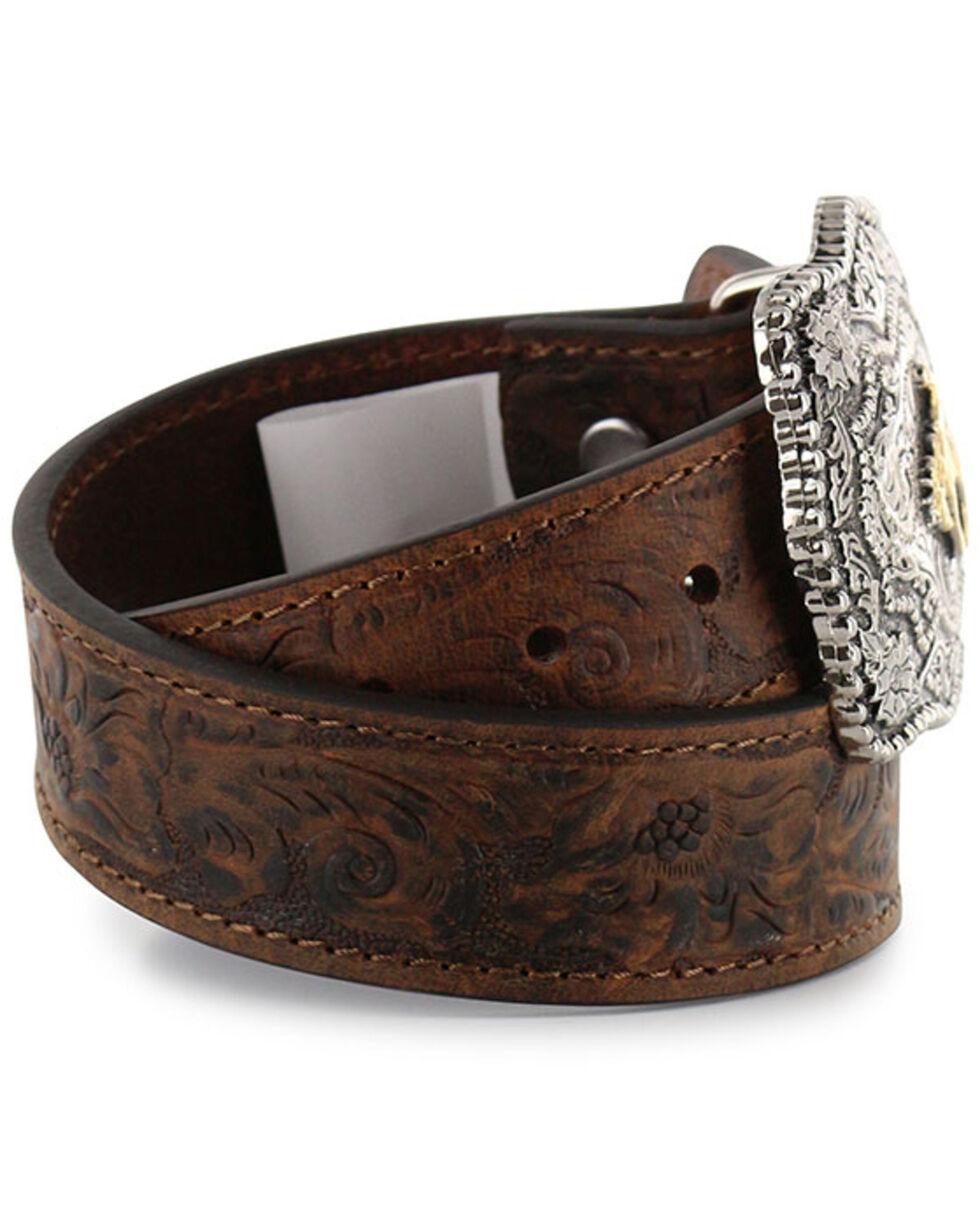 Cody James Kid's Floral Tooled Belt, Brown, hi-res