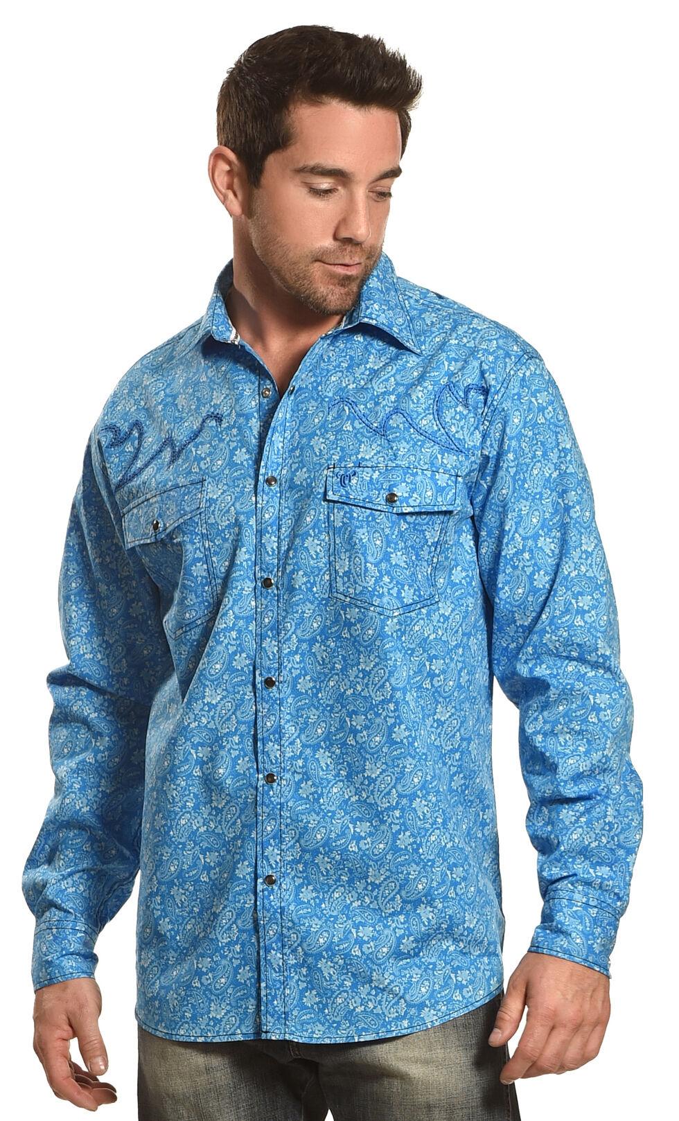 Cowboy Hardware Men's Blue Range Paisley Print Shirt , Blue, hi-res