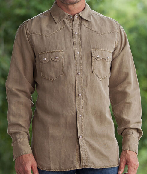Ryan Michael Men's Brown Silk Linen Sawtooth Snap Shirt, Brown, hi-res