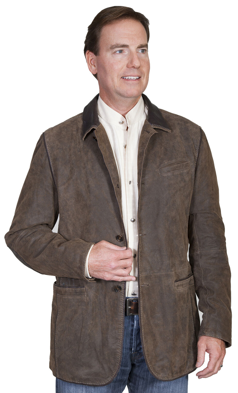 Scully Men's Leather Blazer , Brown, hi-res
